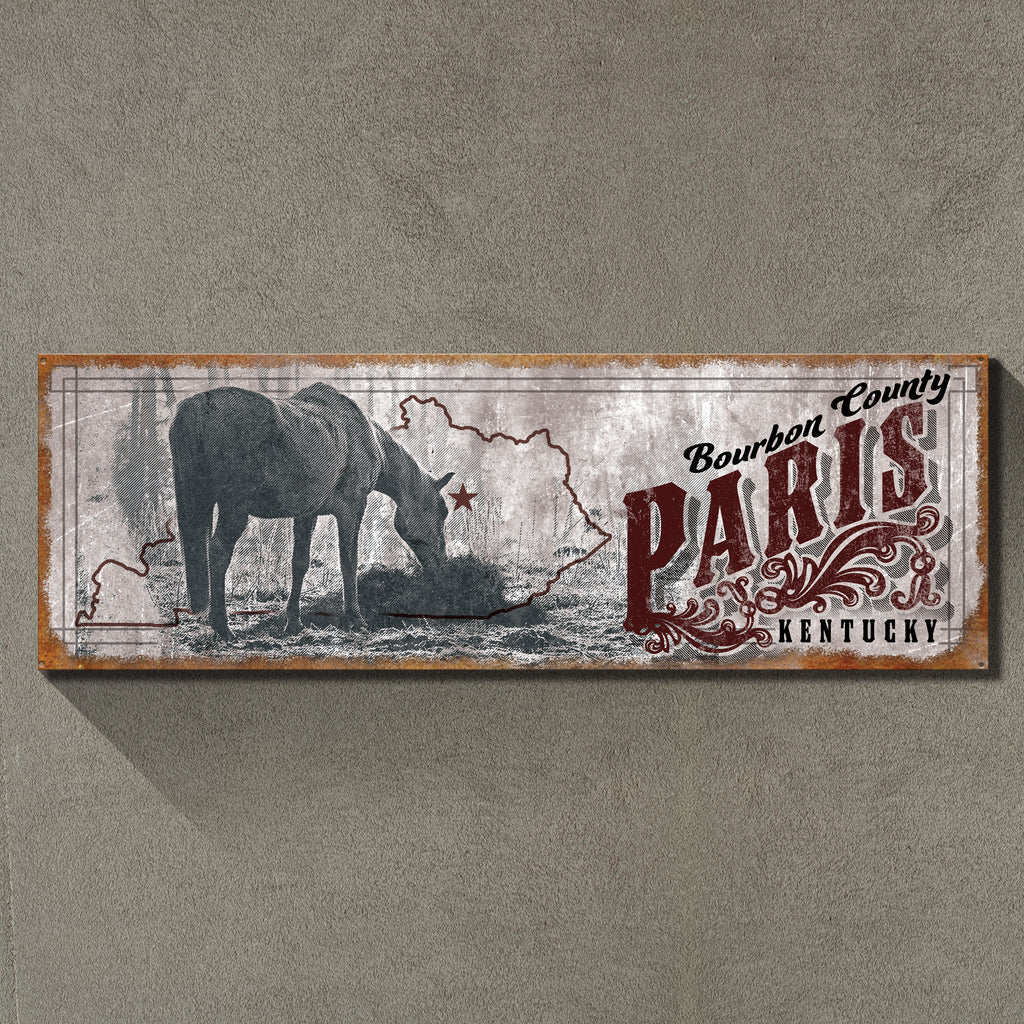 """Paris, Kentucky"" 1'x3' Metal Sign Decor - River Valley Special Tee's"