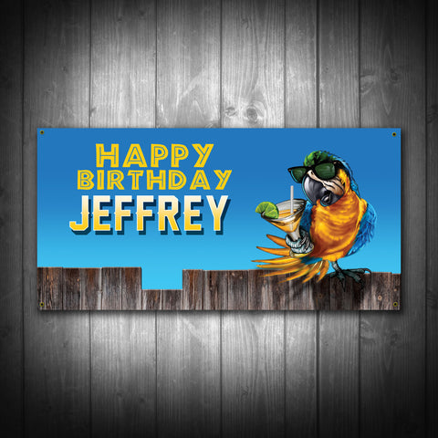 Party Parrot Themed Birthday Banner - River Valley Special Tee's