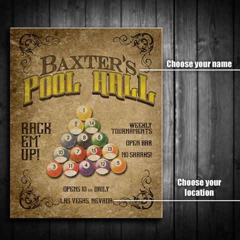 Customized Pool Hall Canvas Print - Multiple Sizes!