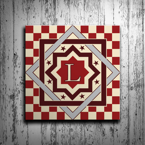 Stars and Checkers Barn Quilt with Initial Monogram - River Valley Special Tee's
