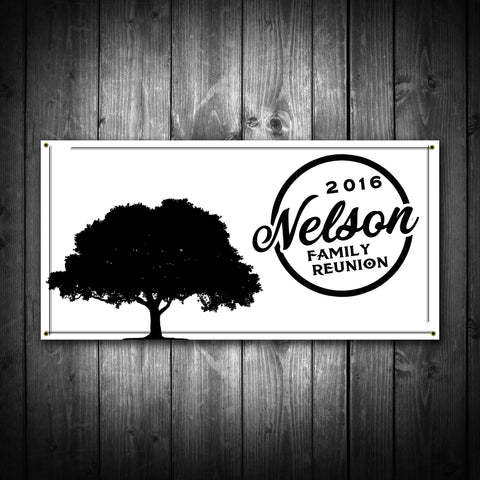 Customized Family Reunion Banner - Tree Silhouette - River Valley Special Tee's