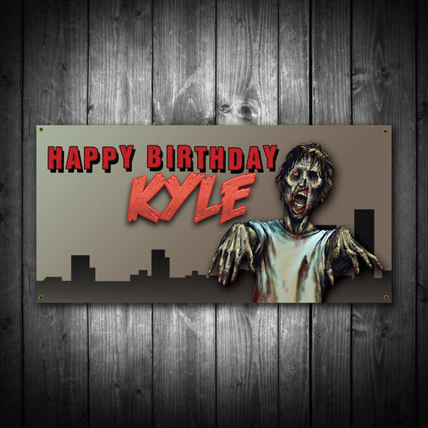Zombie Themed Birthday Banner - River Valley Special Tee's