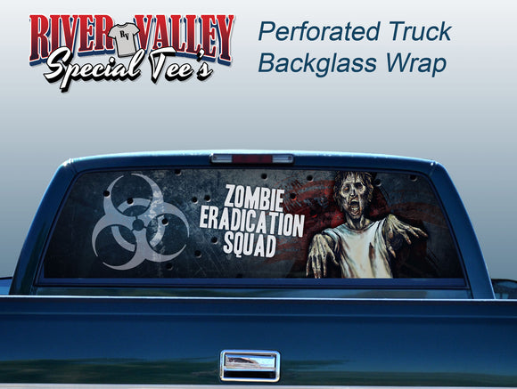 Zombie Eradication Squad Truck Window Wrap - River Valley Special Tee's