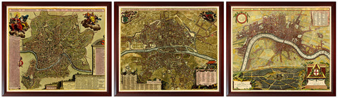 Rome Paris London Map Set, Custom Framed