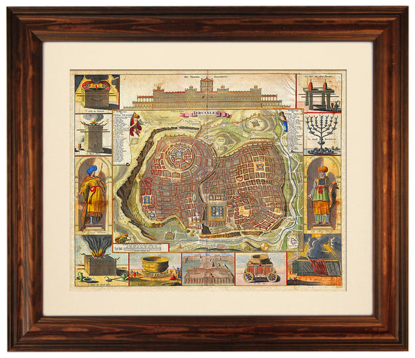 Holy Land, Jerusalem, Biblical Illustrations, Stoopendaal, (4) Framed Maps Set