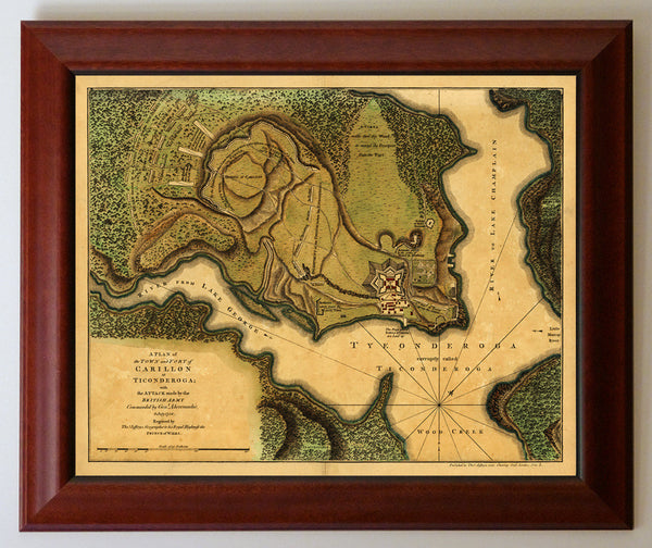 New York, 1758, Ticonderoga, Fort Carillon, French & Indian War, Framed Map