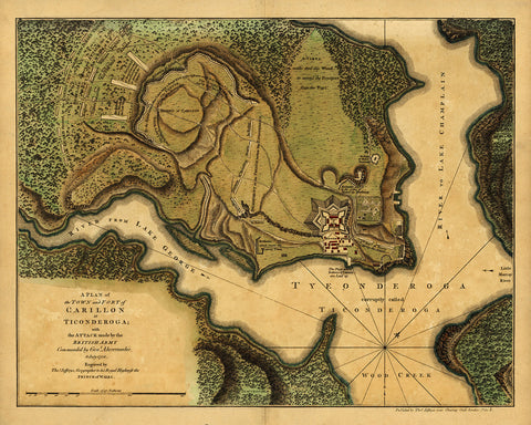 New York, 1758, Ticonderoga, Fort Carillon, French & Indian War Map