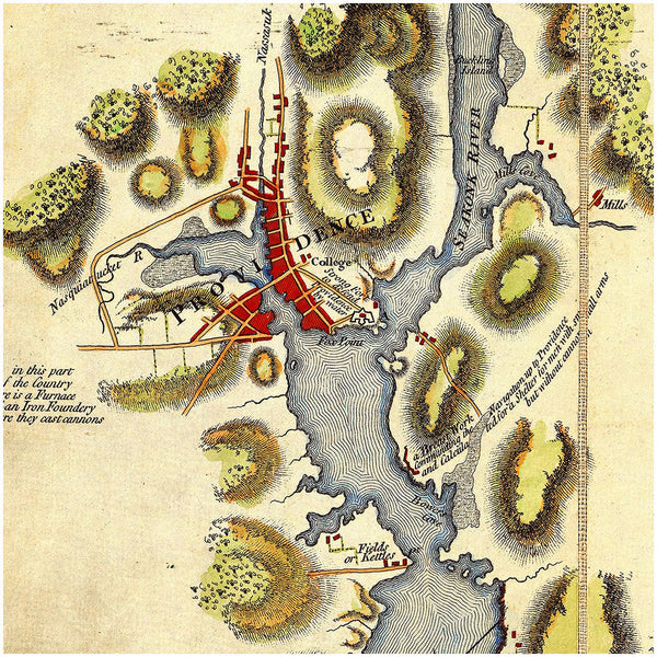 New England, 1777, Narragansett Bay, Rhode Island, Gaspée Affair, Revolutionary Era Map