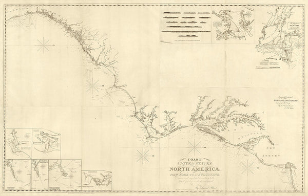 U.S. East Coast, 1827, New York to Florida, Nautical Chart