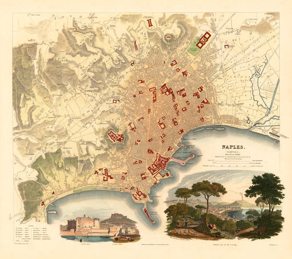 Naples, 1835, Napoli, S.D.U.K. Antique Map