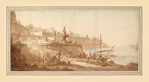 Malta, 1664, Valletta Harbour, Fontana Nuova, Schellinks, Drawing, Fine Art Print
