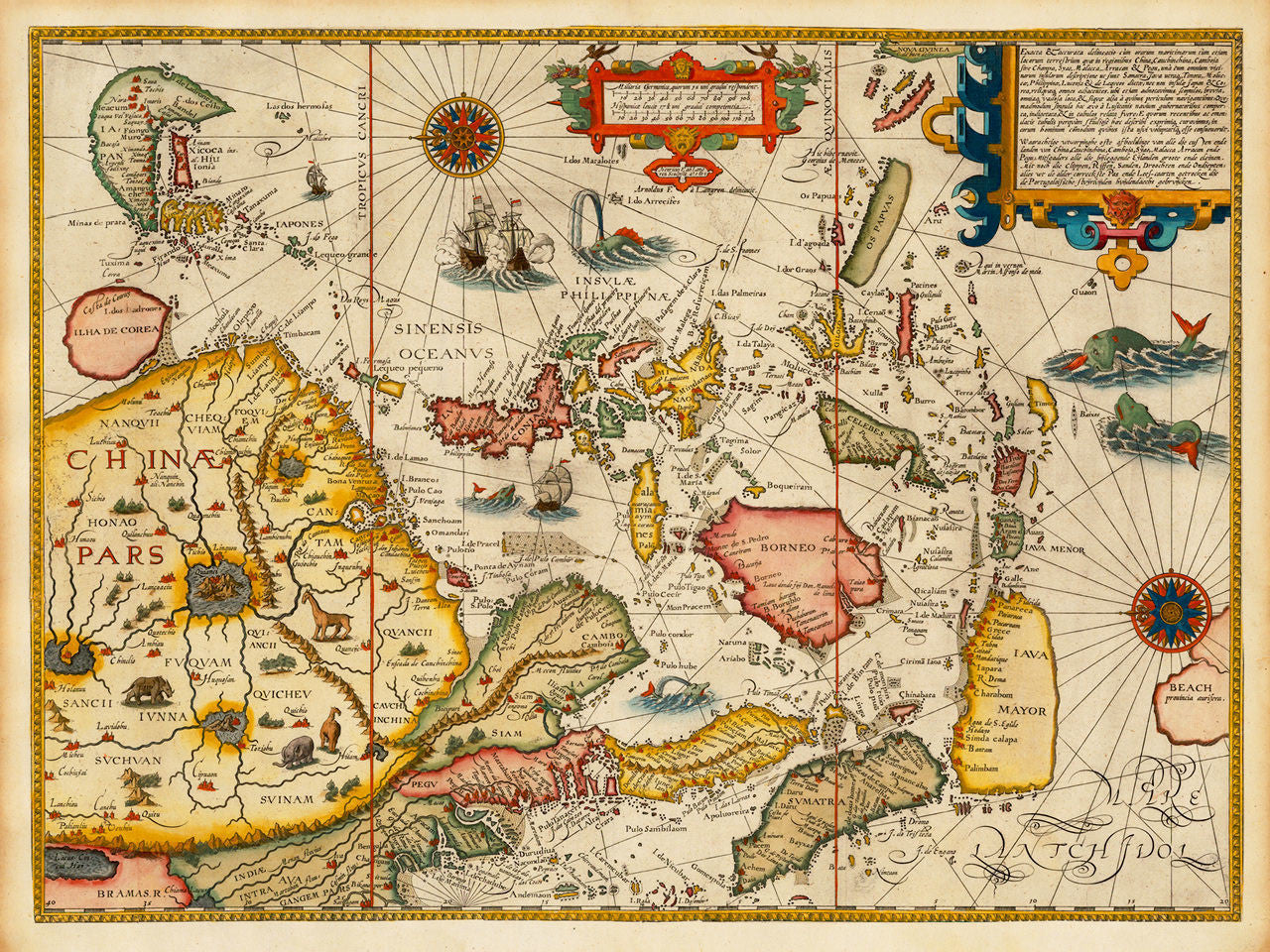 Asia, 1596, Southeast Asia, China, Japan, Far East, Linschoten Map