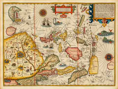Asia, 1596, Southeast Asia, Far East, China, Japan, Linschoten Map