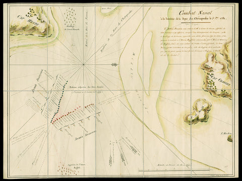 Chesapeake Bay, 1781 French Navy Map of the Battle of the Capes, Revolutionary War