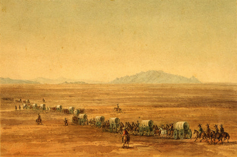 Utah, 1859, Great Salt Lake Desert Crossing, Watercolor View