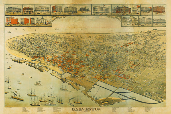 Galveston, Texas, 1885, Bird's Eye View, Old Map