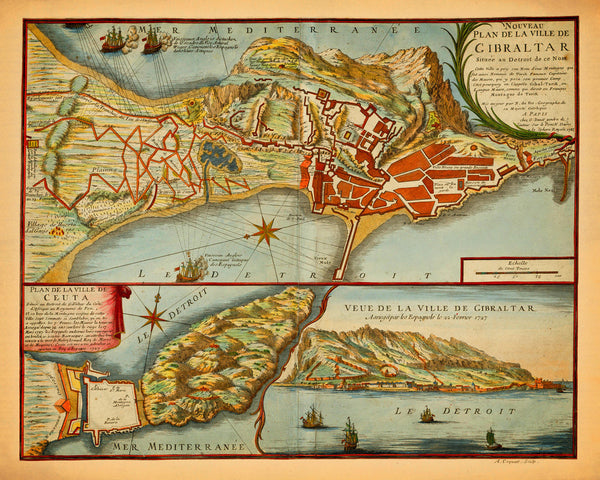 Gibraltar, 1727, Nouveau Plan, Anglo-Spanish War, Old Map