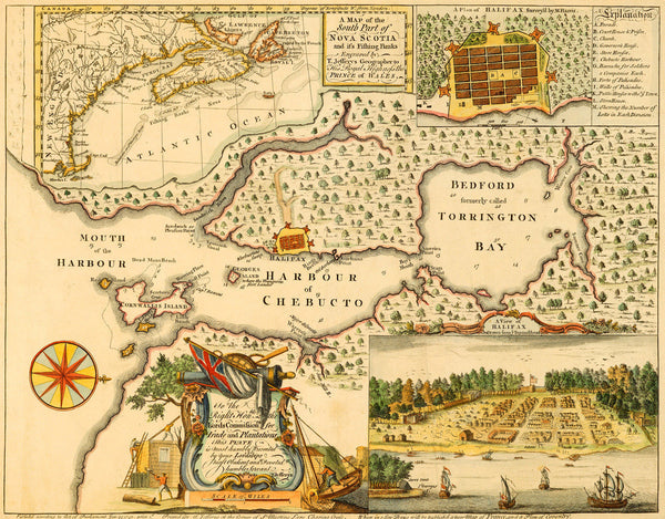 Canada, 1750, Halifax, Nova Scotia, Plan, View & Map (I)
