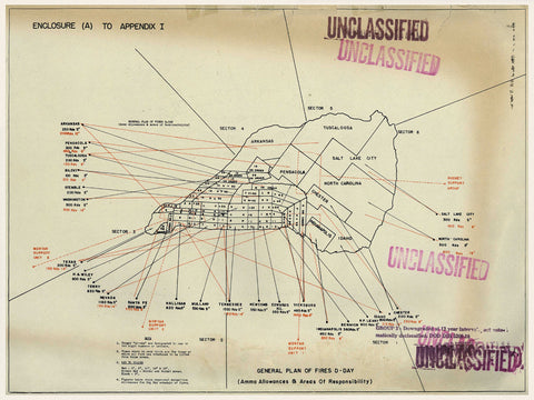 Iwo Jima, 1945, Naval Artillery Plan of Fire, WWII Map