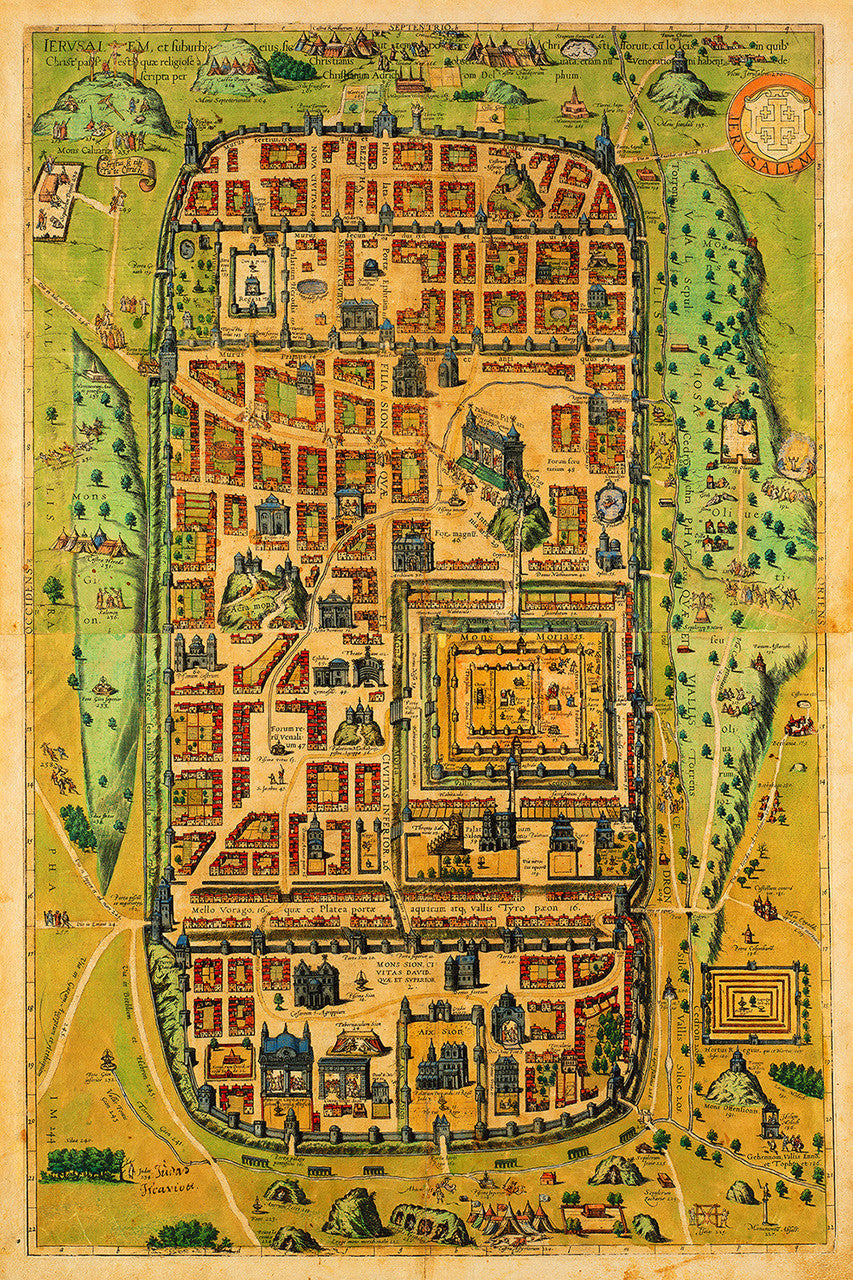 Jerusalem at the Time of Christ, 1584, Braun & Hogenberg Map