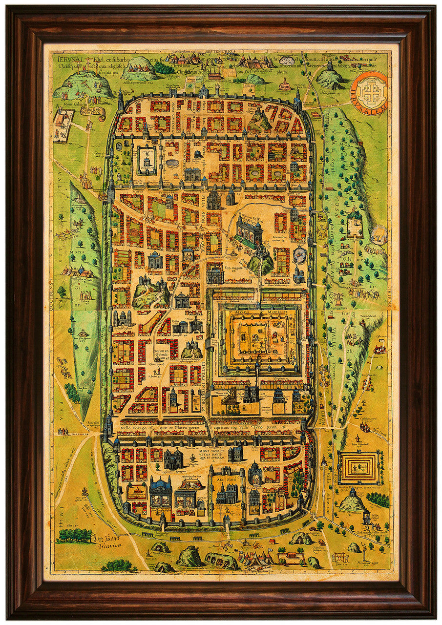 Jerusalem at the Time of Christ, 1584, Braun & Hogenberg, Framed