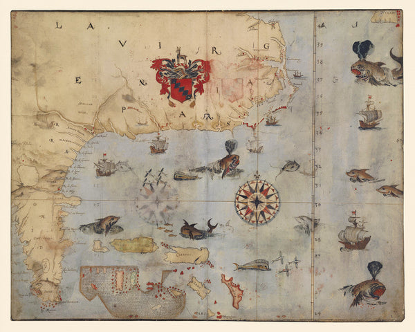 Virginia, 1585, La Virginea Pars, John White Map Set