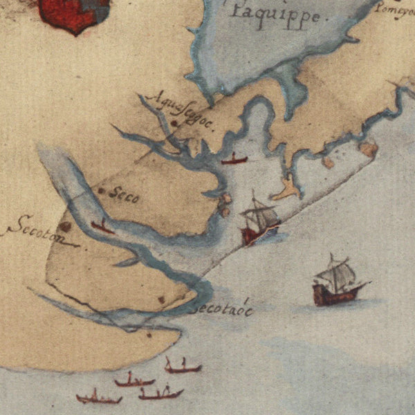 Virginia, 1585, La Virginea Pars (I), Roanoke, John White Map