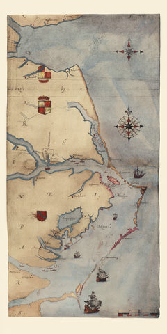 Virginia, 1585, La Virginea Pars, Roanoke, John White Map