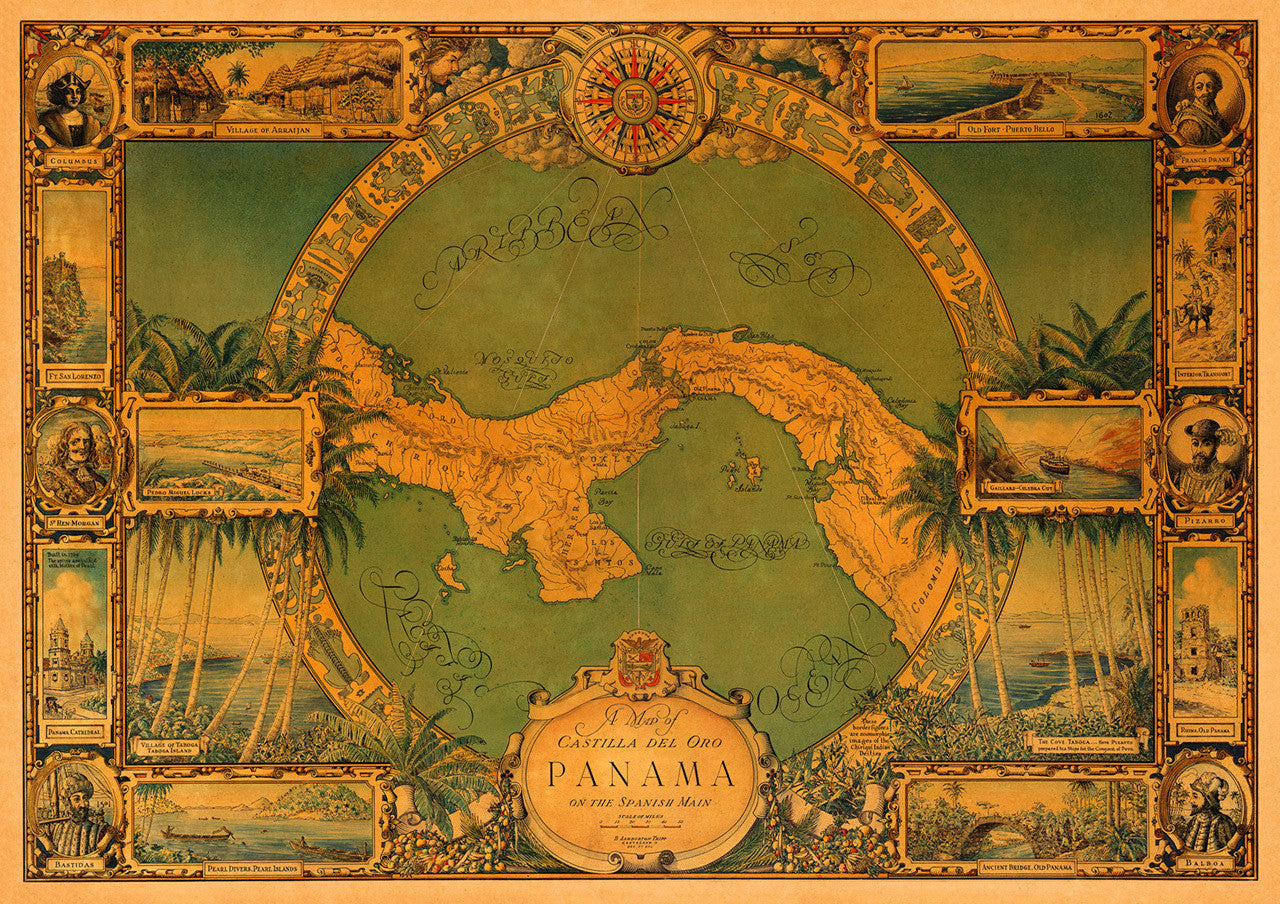 Panama Pictorial Historical Map Battlemapsus - Us-map-1930