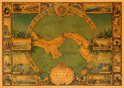 Panama, 1930, Pictorial Historical Map