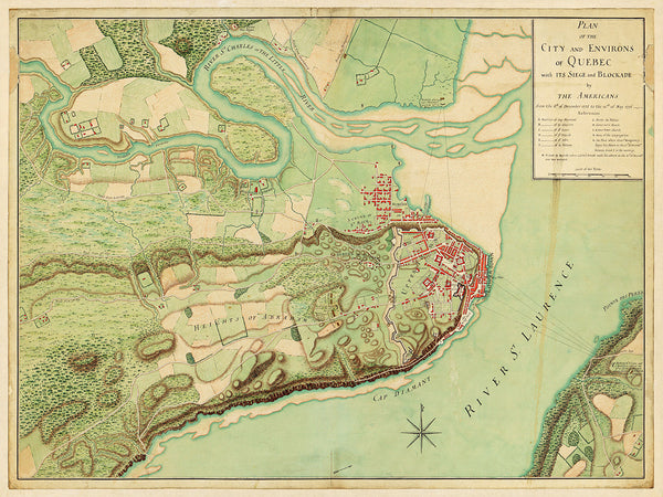 Canada, 1775-76, Quebec City, Battle and Siege, Plan & Map