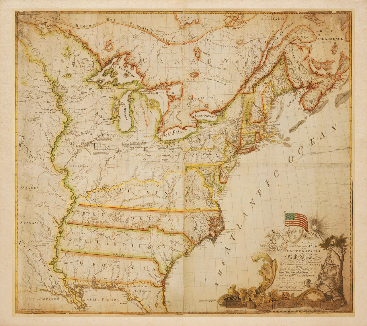 USA, 1784, North America, Abel Buell Map (II)