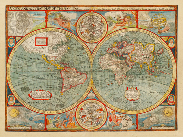 World, 1626, John Speed, A New & Accvrat Map