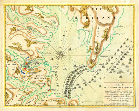 Yorktown, 1781, French Naval Plan (II), Revolutionary War Map