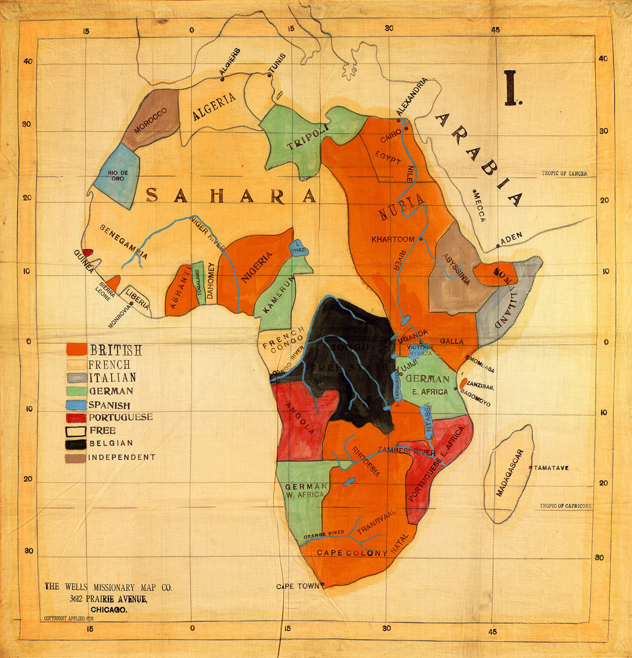 Early 20thcentury Map Of Africa 1908 Battlemapsus - Us Map 1908