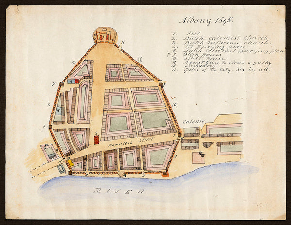 New York, 1695, Albany, Fort, John Miller, James Eights, Manuscript Plan