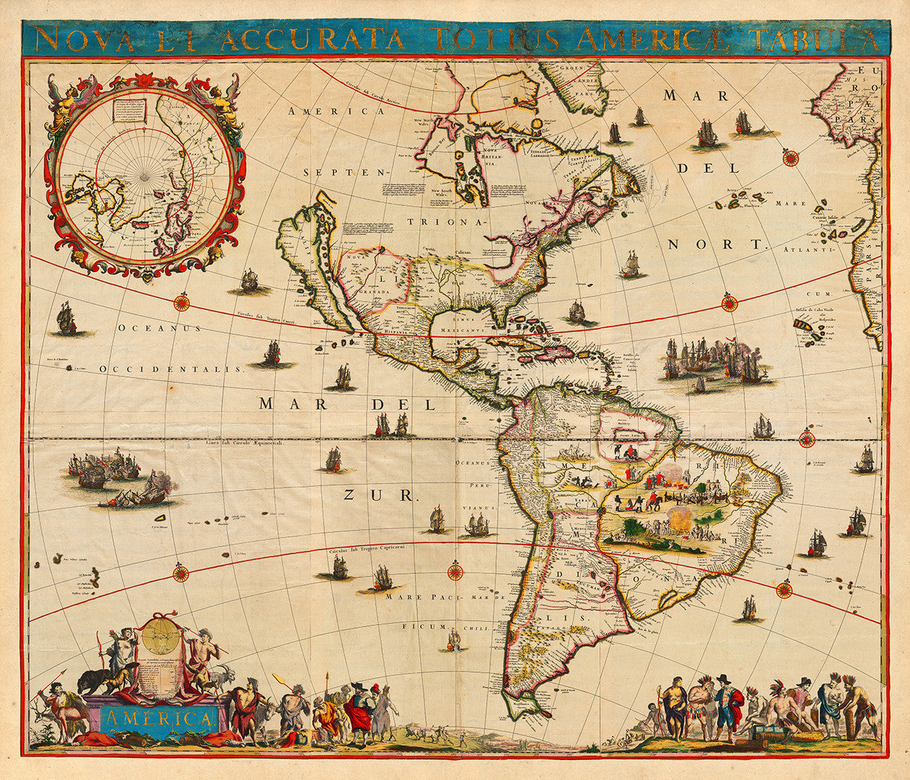 America 1672 Nova Et Accurata Totius Americae Tabula Battlemapsus - Old-map-of-us