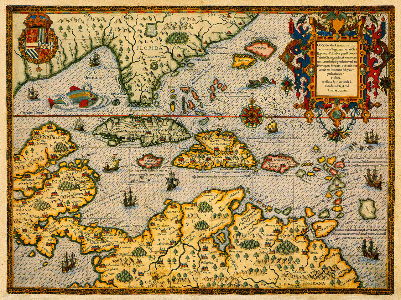 1594 Map Of Florida The Caribbean T De Bry Battlemapsus - Old-map-of-us