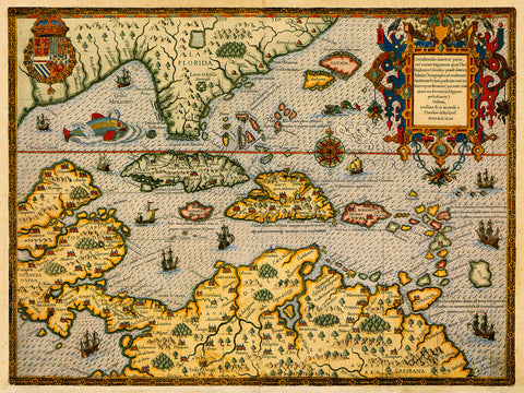 America, 1594, Central, South, Caribbean, De Bry, Old Map
