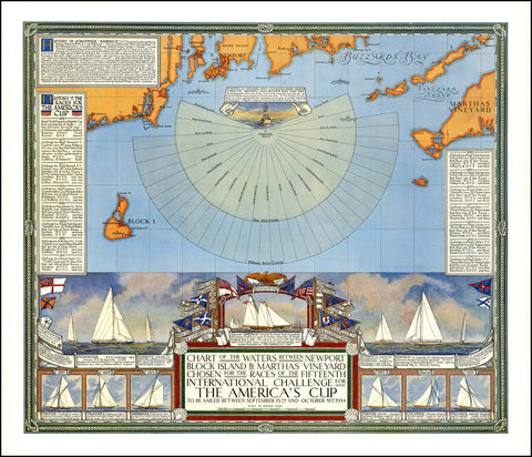America's Cup Sailing, Martha's Vineyard, Vintage Chart