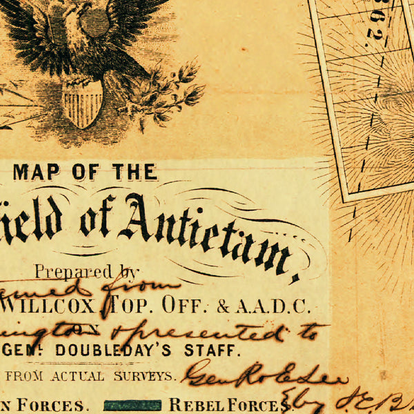 Antietam, 1862, Sharpsburg Battlefield, American Civil War, Willcox, Hotchkiss Map