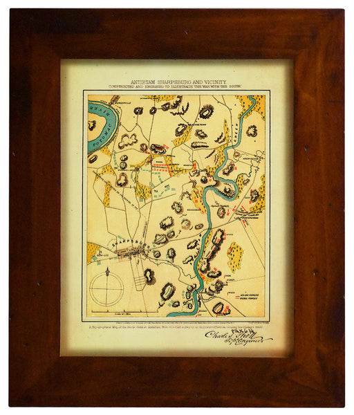 Antietam, 1862, American Civil War, Sharpsburg Battlefield, Framed Map