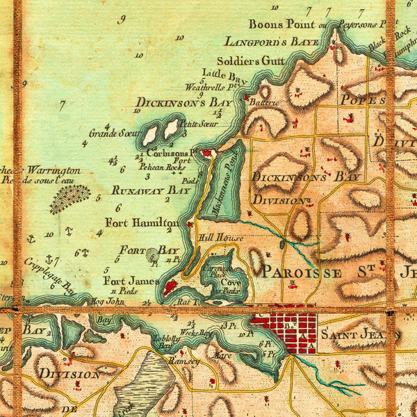 Caribbean, 1779, Antigua, Antigue, English Harbour, Old Map