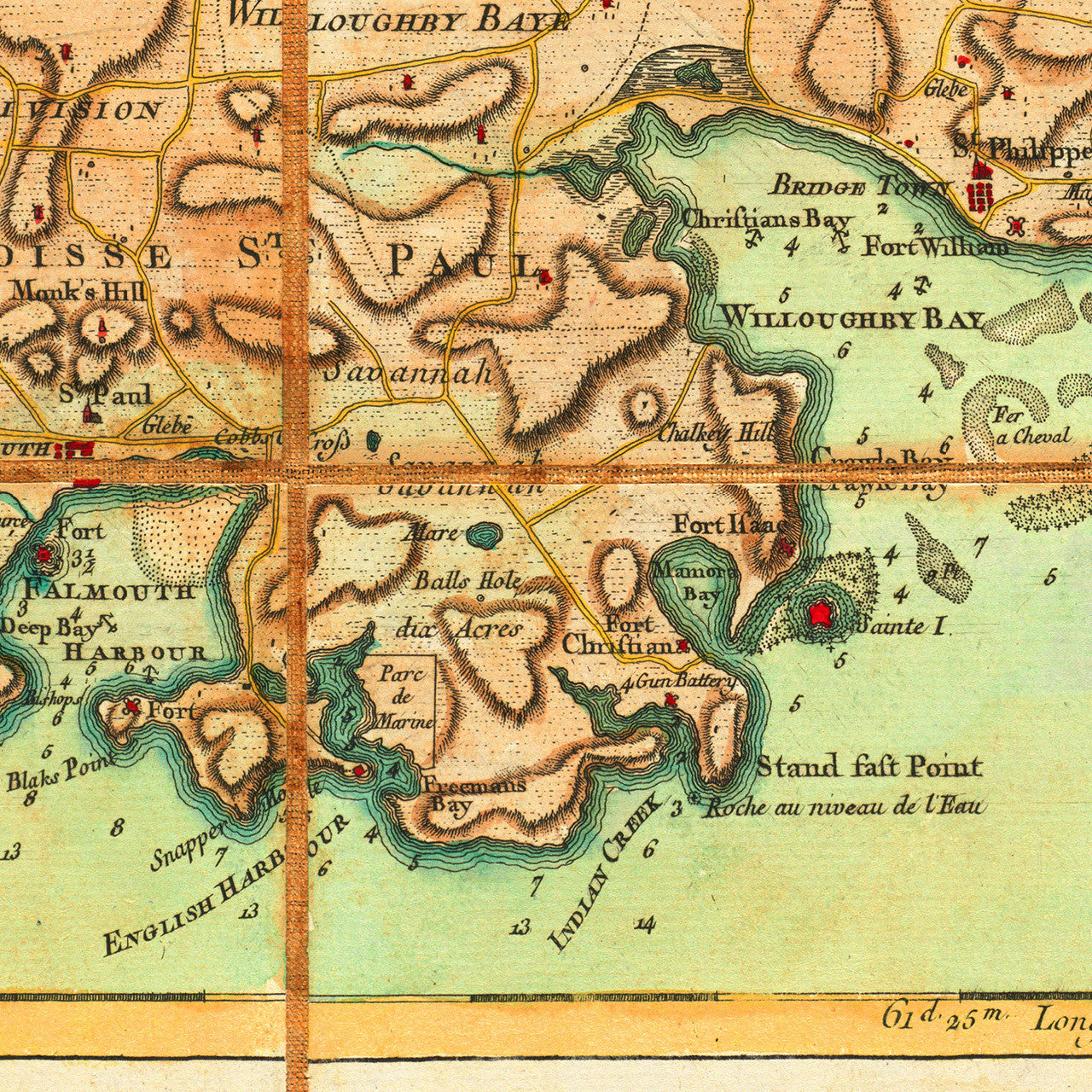 Map of antigua 1779 antigue baker le rouge battlemaps caribbean 1779 antigua antigue english harbour old map sciox Image collections