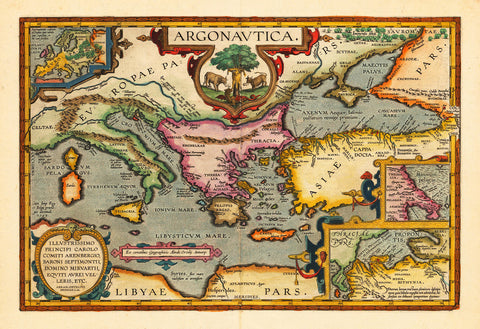 Mediterranean, Argonavtica, Greek Mythology, Ortelius Map