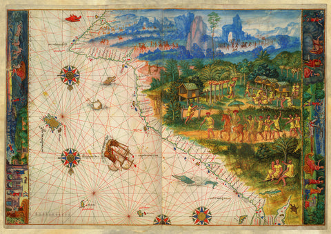 Australia, 1547, Terra Java, Vallard Atlas, Dieppe Map