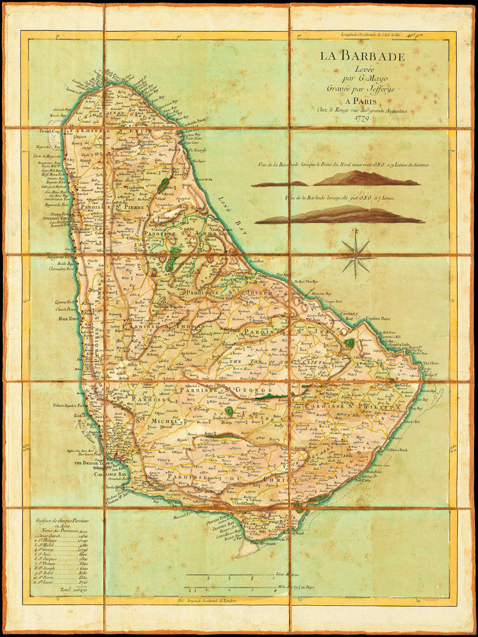 Map of barbados 1779 la barbade mayo jefferys le rouge caribbean 1779 barbados la barbade old map sciox Image collections