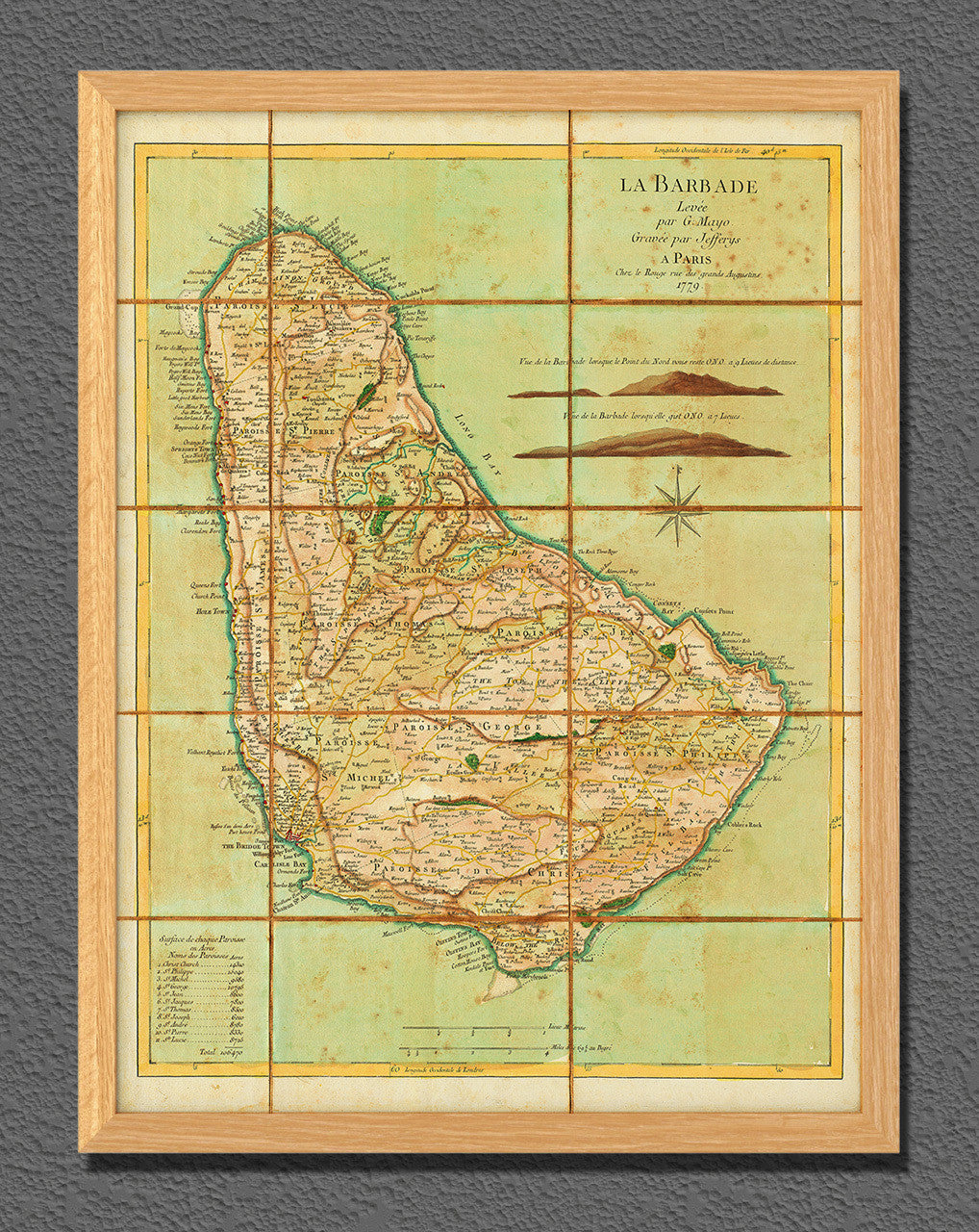 Map of Barbados 1779 La Barbade Mayo Jefferys Le Rouge