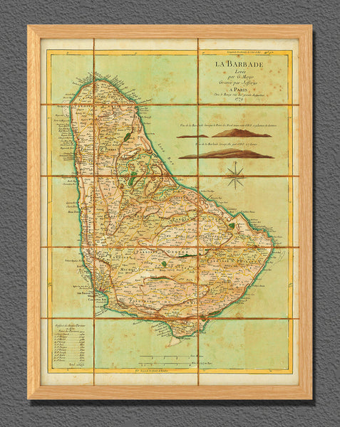 Caribbean, 1779, Barbados, La Barbade, Old Map