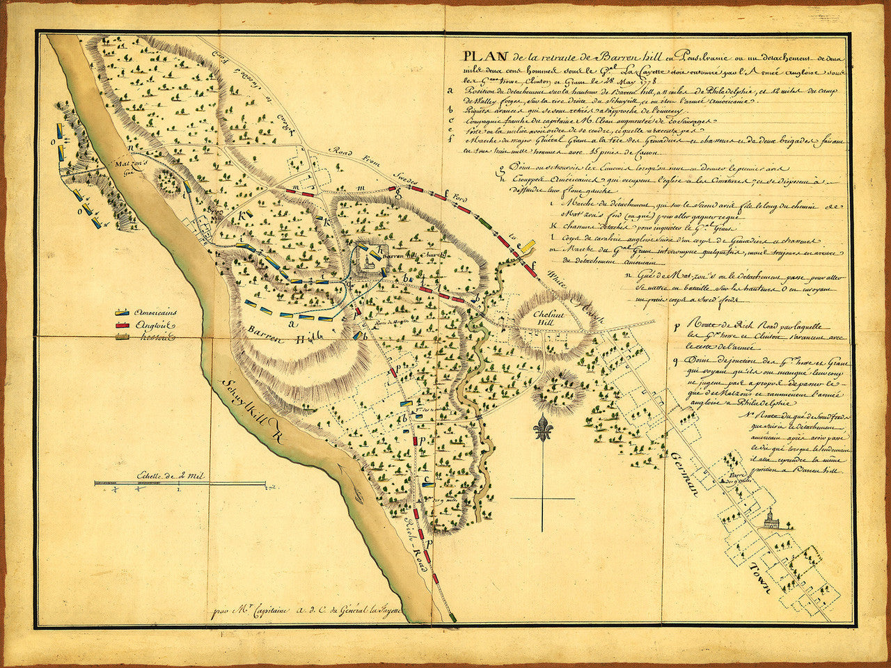 Philadelphia, 1778, Barren Hill, Battle, Revolutionary War Map